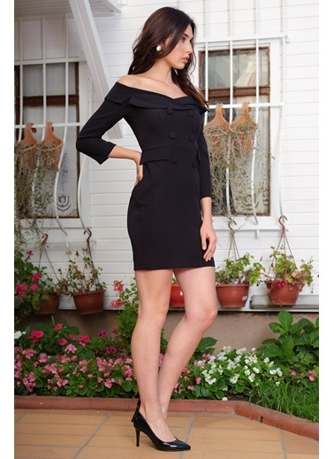 İroni Geniş Yakalı Blazer Elbise Siyah